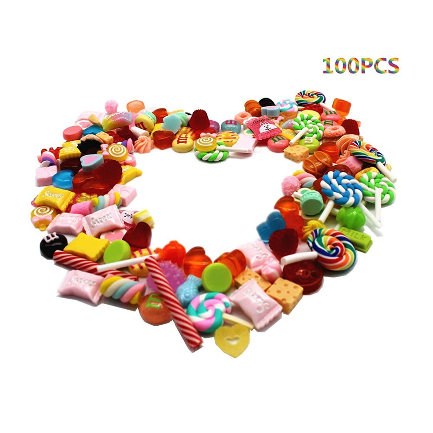 100pcs Cute Slime Charms Variety of Candies Sweets Assorted Colors and Shapes Stuff Resin Flat Back Embellishments for DIY Scrapbooking Crafts