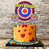 25Pcs Cake Decorations for Nerf Cake Topper Cupcake Toppers Boys Birthday Gun Party Supplies