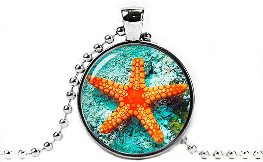 Dandelion Starfish Pendant Starfish Necklace, Starfish Jewelry Sea Photo Glass Pendant