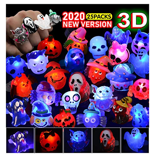 FLY2SKY 3D Halloween Treats 25Pcs Halloween LED Ring Light Up Rings Toys Glow in The Dark Halloween Party Favor for Kid LED Flash Rings No-Repeat Non Candy Gift Halloween Bag Fillers 2020 New Version
