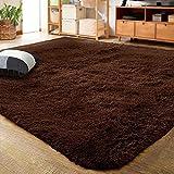 LOCHAS Ultra Soft Indoor Modern Area Rugs Fluffy Living Room Carpets for Children Bedroom Home Decor Nursery Rug 6x9 Feet, Brown
