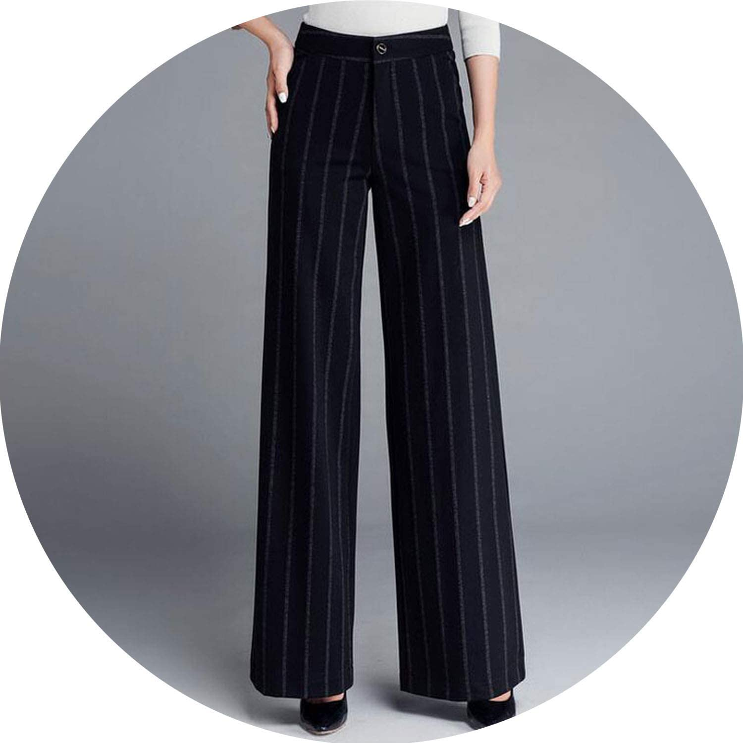 Can't be satisfied Women Winter Thick Pants Warm Trousers Casual Stretch Black Striped Wide Leg Pants Woman Loose Pant 37