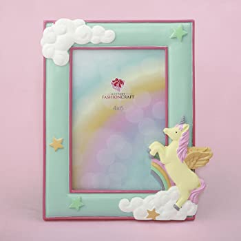 "Magical Unicorn Hand Painted Pastel Frame for 4"" x 6"" Photo"