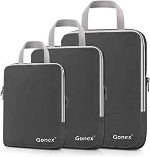 Compression Packing Cubes, Gonex Travel Organizers Upgraded 3PCS L+M+S(Grey)