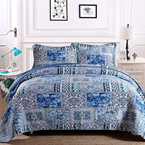 Blue Bohemain Bedspread Queen, 100% Cotton Reversible Rustic Patchwork Printed Bedding Quilt Coverlet, 3 Pieces Boho Cotton Quilt Set for All Season Oversize Queen 90x98 inches