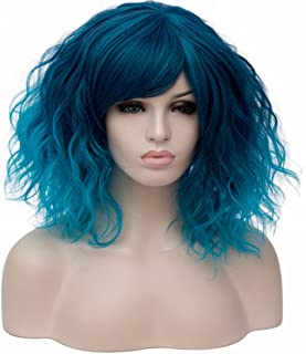 Women's Short Curly Wig 14 Inches Bob Wigs with Fringe for Women Cosplay Party Fancy Dress, Blue