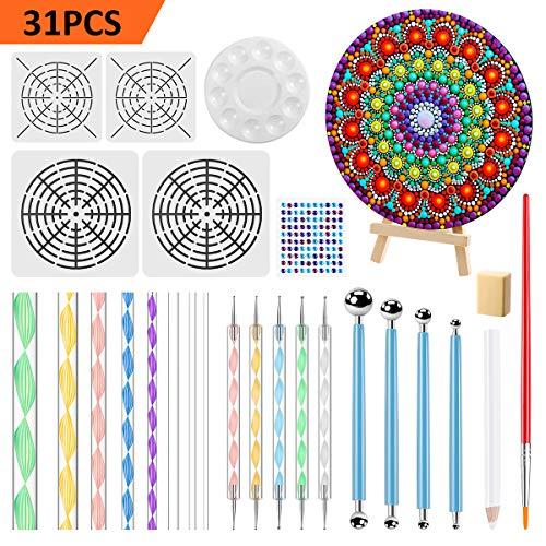 EXTSUD Mandala Rock Punktierung Werkzeuge, 31 Stück Dotting Tool Dot Painting Werkzeug für DIY Malerei Polymer Nail Art Handwerk Zeichnung Drafting