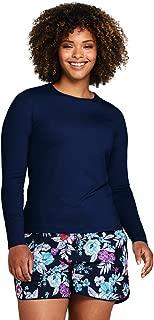 Women's Plus Size Crew Neck Long Sleeve Rash Guard UPF 50 Sun Protection Modest Swim Tee
