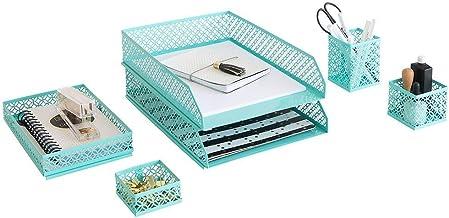 per casa o ufficio Organizer da scrivania con cassetto Blu Monaco Aqua