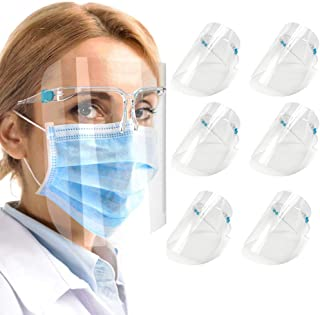 6 PACK Glasses Style Visor Transparent Anti-Fog Layer Anti Air Dust Cover,Unisex Mouth Cover, Reusable Glasses Style Anti-Fog Plastic for Daily Use