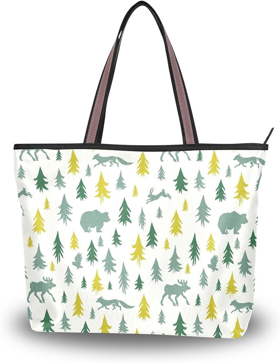 JSTEL Women Large Tote Top Handle Shoulder Bags Elk Fox Hare Bear Owl Patern Ladies Handbag