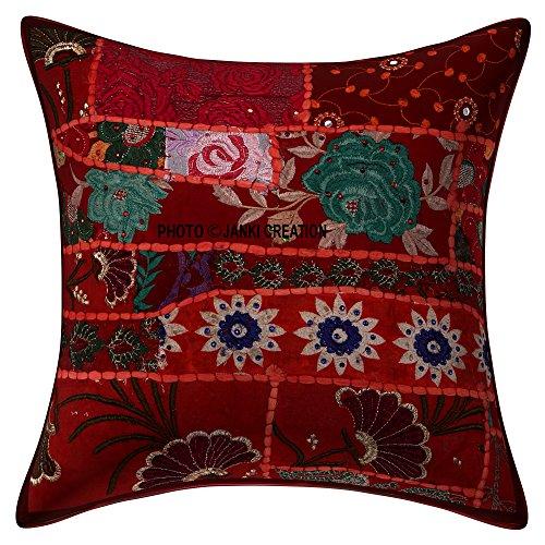 Federa decorativa per divano indiana in stile bohémien, stile etnico e bohémien, per divano e divano, 45,5 x 45,7 cm, fatta a mano, patchwork, perline ricamate con paillettes, fiori etnici