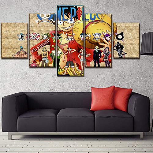 DJxqJ 5 Leinwanddrucke Leinwand Home Decor Wandkunst Bilder 5 Stück Anime One Piece Rolle Gemälde für Wohnzimmer Hd gedruckt Modular Unique Poster