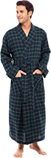 Men's Lightweight Flannel Robe, Soft Cotton Kimono