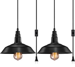 Best FadimiKoo Plug in Pendant Light E26 E27 Industrial Hanging Pendant Lights Vintage Hanging Light Fixture with 13.12ft Cord On/Off Switch 2 Pack Review