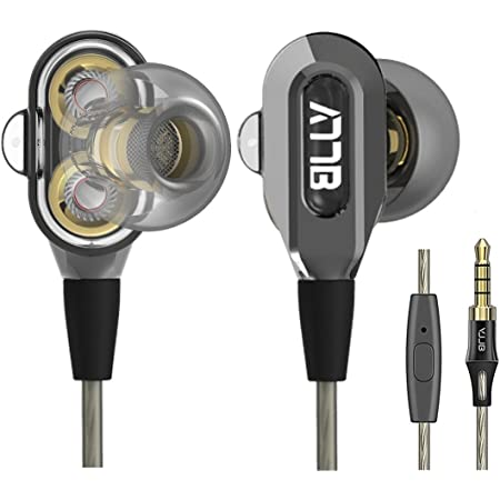 GranVela VJJB V1S High Definition Dual Dynamic Driver in-Ear Headphones with Mic and High Tensile Cable