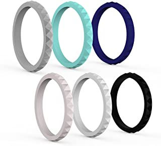 Varovi Women's Silicone Ring. Diamond Style Wedding Band Single Rings or 3 and 6 Pack Bundle