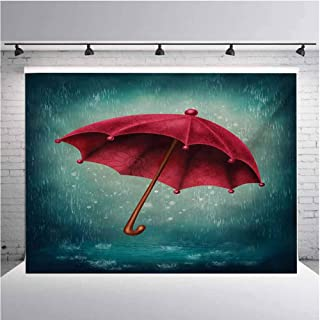 Winter Photography Background Cloth Authentic Retro Wooden Handle Under Fall Rainfall Torrent of Rain Urban Image Art Print for Photography,Video and Televison 10ftx8ft Teal