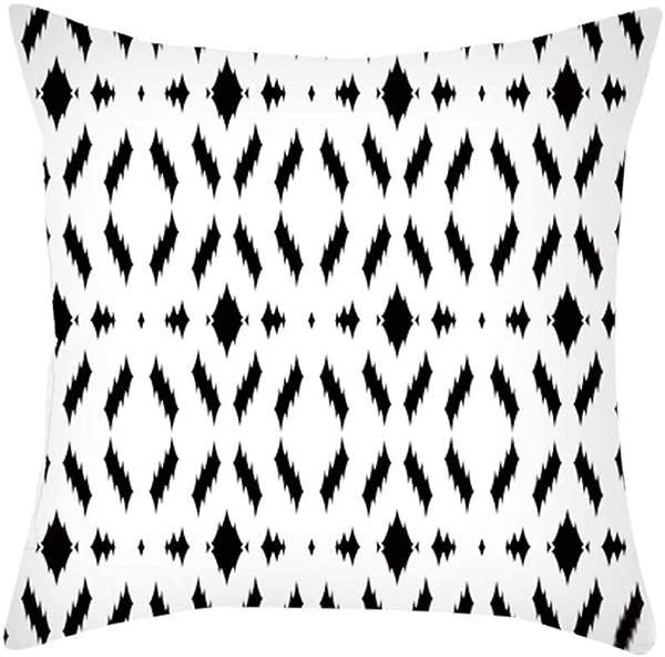 HYSGM 18X18 Inches Black White Geometric Printed Throw Cover Square Pillow Cushion Case C