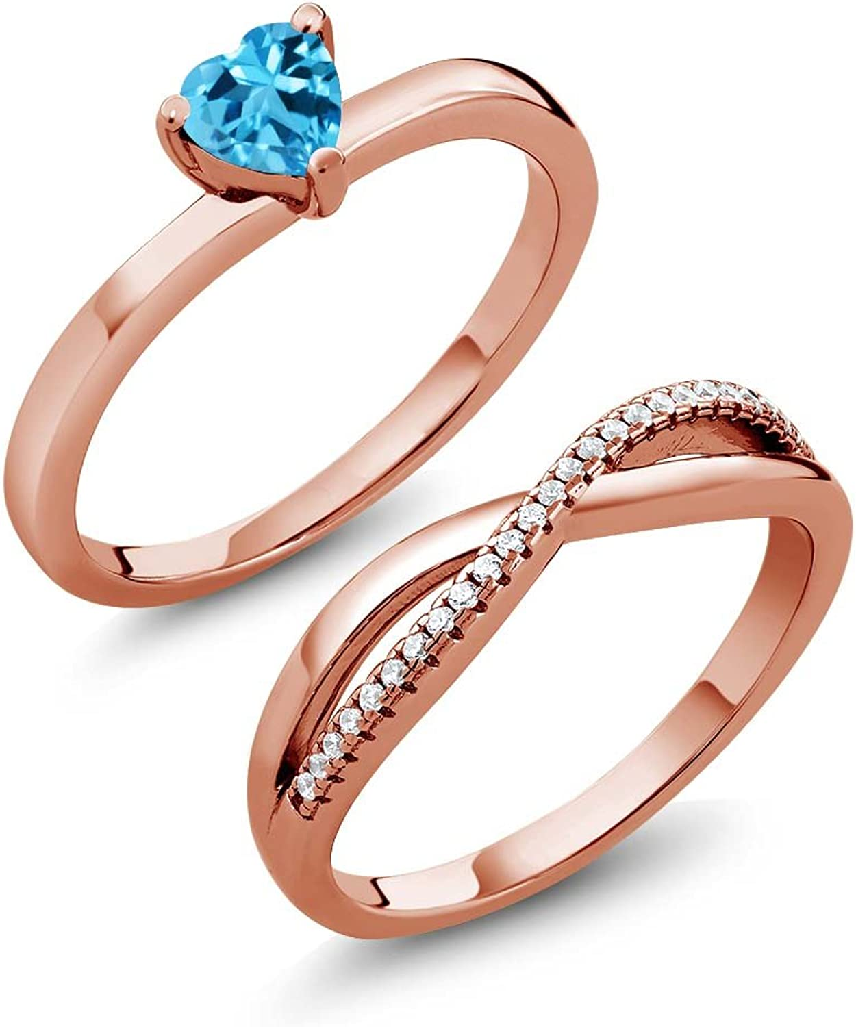 0.86 Ct Swiss bluee Topaz 18K pink gold Plated Silver Engagement Wedding Ring Set