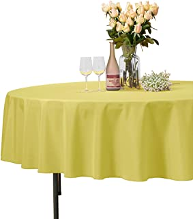 VEEYOO Round Tablecloth 100% Polyester Circular Bridal Shower Table Cloth – Solid Soft Dinner Table Cover for Wedding Party Restaurant (Yellow, 90 inch)