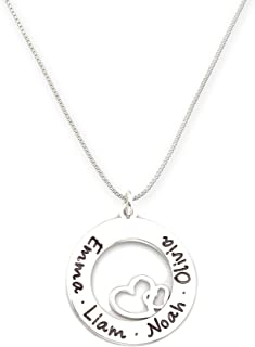 AJ's Collection Personalized Stationary Sterling Silver Washer Name Necklace with Heart. Customize a Washer Charm. Choice of Sterling Silver Chain. Shiny, Elegant, Classy for Couples.