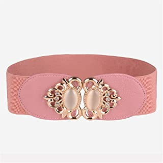 Leather Belts for Women with Metal Buckle Wide Belt for Casual Dress and Jeans Wide Waist Band Belt with Metal Round Buckle (Color : Pink)