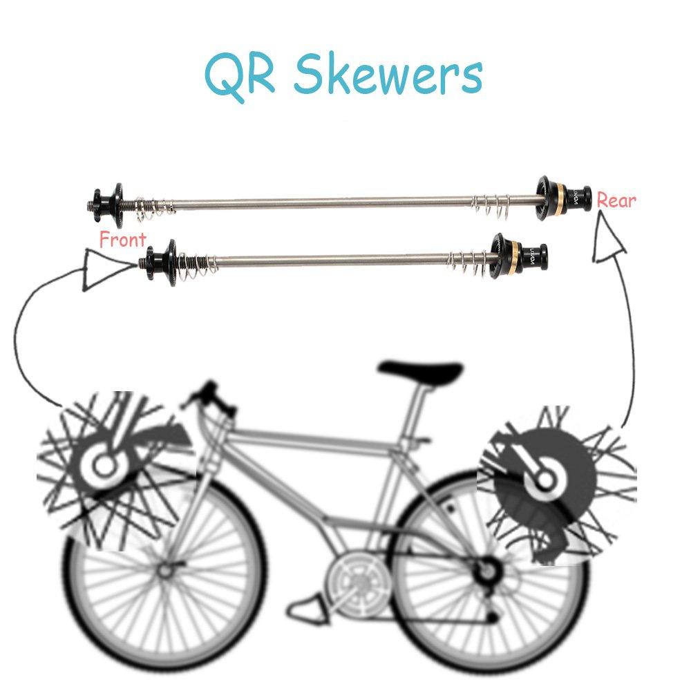Honeytecs Ultralight Bicycle Skewers Quick Release Titanium Axle QR Skewer Mountain Road Bike Bicycle Cycling MTB Wheel Hub Skewers 2Pcs