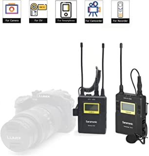 UHF Wireless Lavalier Microphone for iPhone X 8 Camera Vlog Video, Saramonic UwMic9 96-Channel Lapel Mic System Transmitter and Receiver for Smartphone DSLR & Camcorder Video (Phone Adapter in)