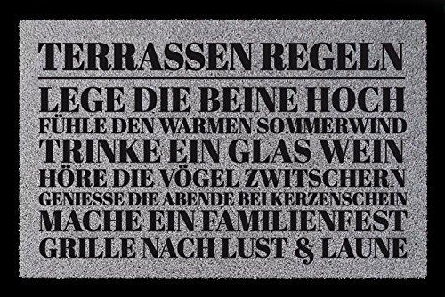 Interluxe SCHMUTZMATTE Fußmatte TERRASSEN Regeln Geschenk Einzug Dekoration Spruch Hellgrau
