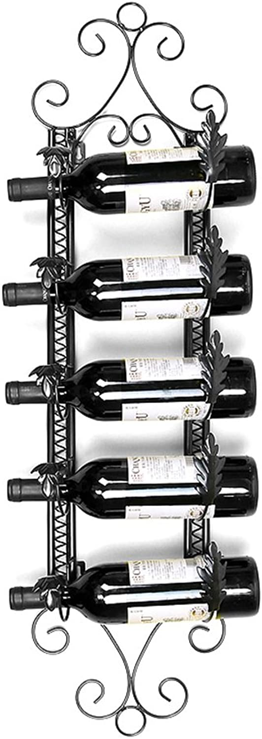 Wine Rack Wrought Iron Black Bronze Wall Hanging 2 colors Available for Most Wines 5 Bottles of Wine European Style Modern Fashion high Quality (color   Black)