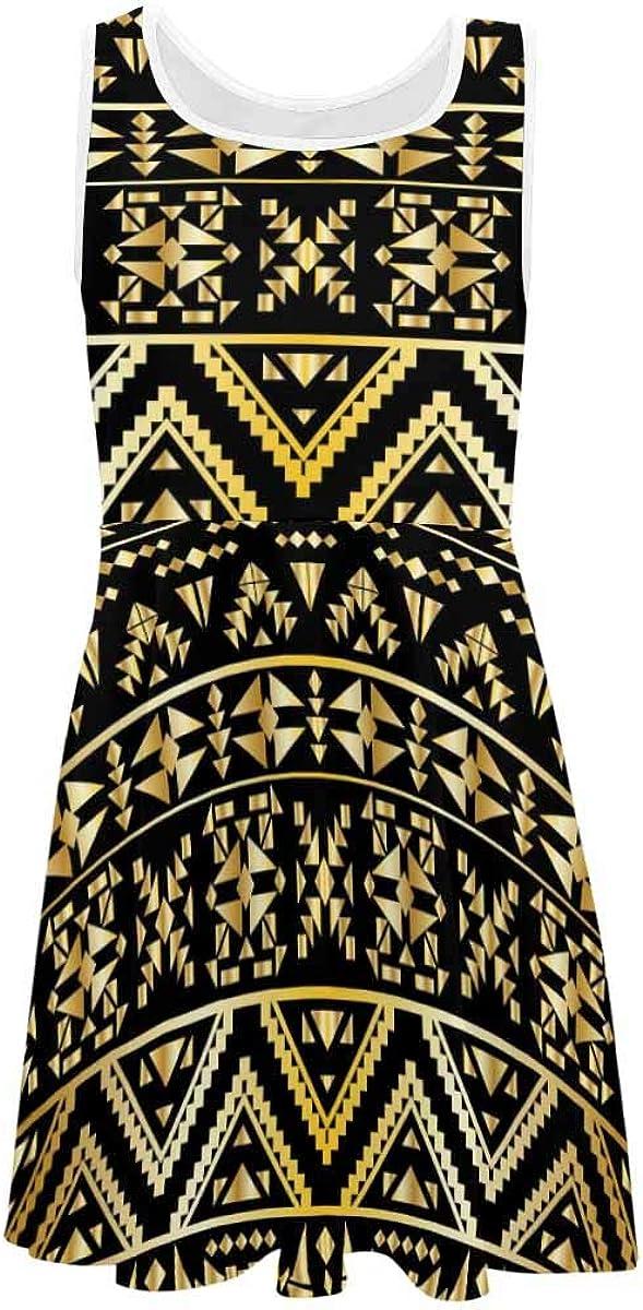 INTERESTPRINT Girls Sleeveless Dress Summer Round Neck Dress Gold Aztec Tribal (2T-XL)