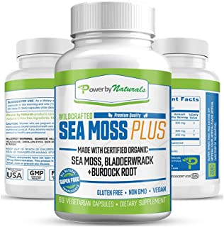 Power By Naturals Certified Organic Sea Moss Plus Supplements with Wildcrafted Irish Sea Moss, Bladderwrack, and Burdock R...