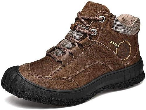 Desconocido Calzaño de Excursionismo para Hombre, botas de Herramientas de Cuero Grueso de otoño Invierno, Hauszapatos de Escalada para Exterior, botas de Herramientas, Zapaños de Viaje