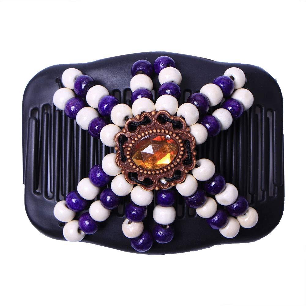 Fesjoy Cheap Retro Wooden Beads Magic Hair Double Row Super sale Comb Ins Hairpin