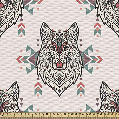 ABAKUHAUS Miłośnicy psów, tkanina sprzedawana na metry, wzór wilka, pięknie tkana tkanina do tapicerki i akcesoriów do domu, 1 m (148 x 100 cm), wielokolorowa