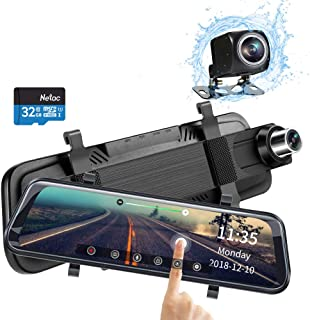 10 Inch Mirror Dash Cam for Cars Full Touch Screen, Backup Camera Stream Media, 1080P 170° Front and 1080P 150° Wide Angle Full HD Rear View Camera, (Free 32GB SD Card)