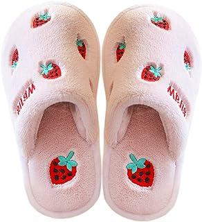 ETERNITY J. Little Kids Toddler Boys Girls Indoor Slip on Slippers Soft Warm Cartoon Fruits Slipper House Bedroom Shoes