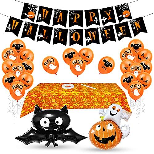 Aurasky Halloween Palloncino Decorazione Set, Decorazioni Halloween Casa, Halloween Palloncini, Tovaglia di Halloween, Festone Happy Halloween, Kit Halloween Party, Halloween Tavola e Giardino
