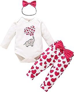 Geagodelia Babykleidung Mädchen Langarm Body Strampler Hose Stirnband Baby Valentines Outfit Mein erstes Valentinstag Kleidung Set Elefant Herz Muster