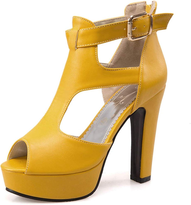 Vimisaoi Women's Chunky Block High Heels Platform Sandals, Wedges Peep Toe Cutout Ankle Strap Boots Dress Party Pumps shoes