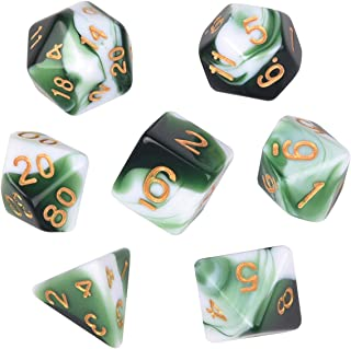 Polyhedral Dice, Transparent Green and White Gem DND Dice Set-7Pieces for RPG MTG Table Games Dice with Velvet Dice Bag