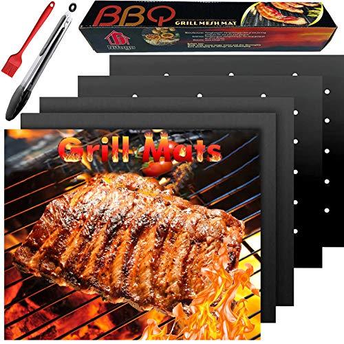 Mgee BBQ Grillmatte Grillmatten & Grillzange & Bürste, Antihaft Feuerfeste Backmatte für Gasgrill und Holzkohlegrill, Wiederverwendbares Grillzubehör, Geschirrspülergeeignet, 50x40cm (5 PCS)