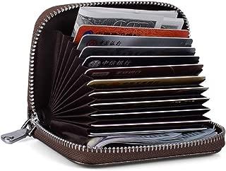 FJPTREN Women Credit Card Holder RFID Blocking Zipper Around Genuine Leather Small Wallet 12 Slots Purse