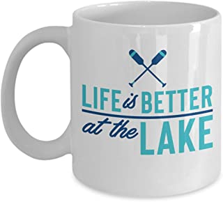 Life Is Better At The Lake Summer Time Vacation Coffee & Tea Gift Mug For Kayak Enthusiasts & Boat Owners (11oz)