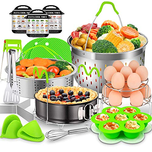 17 Pcs Instant Pot Accessories Set, EAGMAK 6, 8 Qt Pressure Cooker Accessories - 2 Steamer Baskets, Non-stick Springform Pan, Egg Bites Mold, Egg Rack, Steamer Trivet, Egg Beater, Oven Mitts (Green)