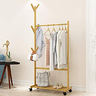 Lukzer Garment Coat Clothes Hanging Duty Rack with Shoe Box Storage Organizer Shelf/Movable DIY Space Organizer for Home Bedroom Balcony