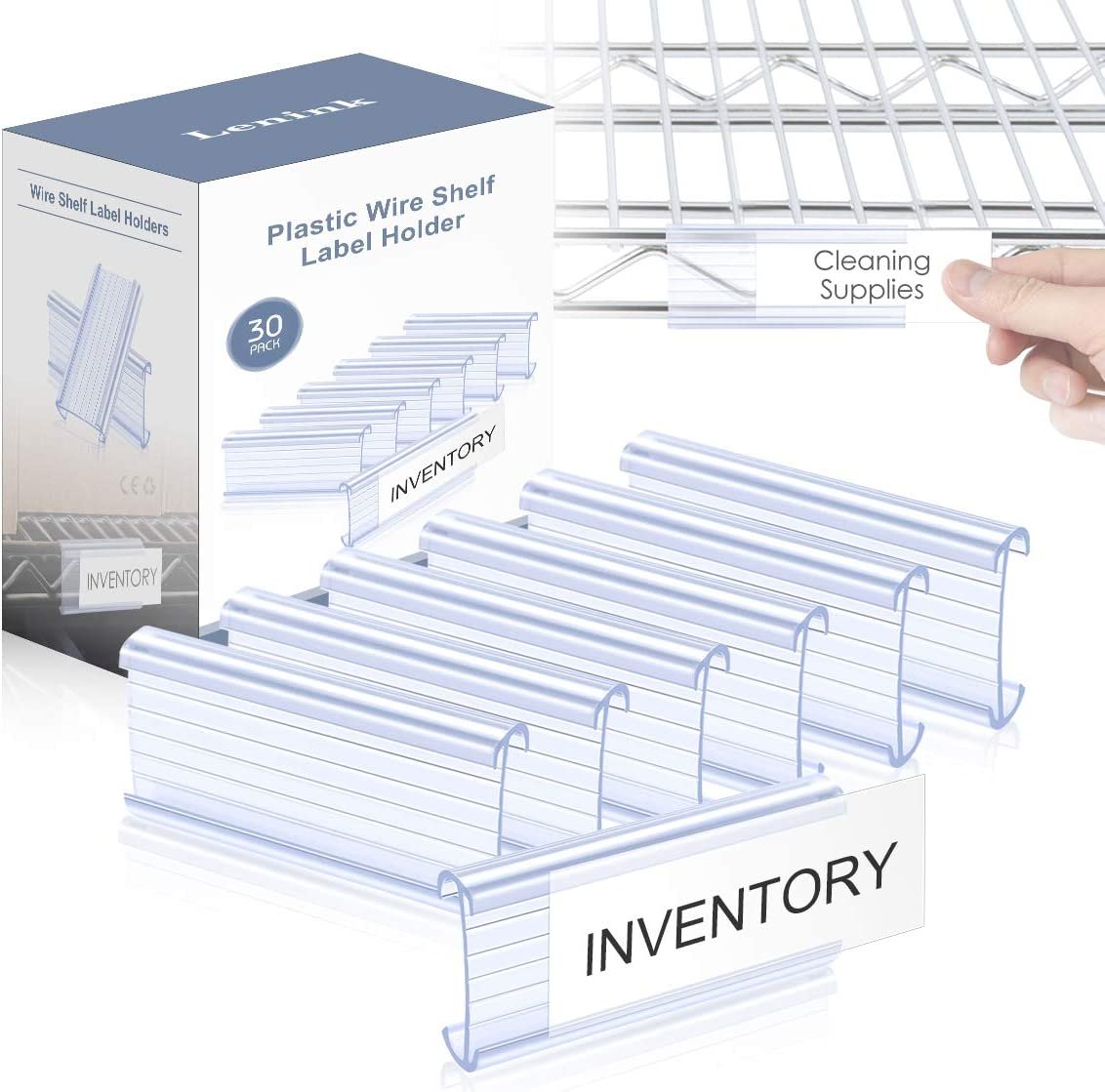 Lenink 30Pcs Wire Shelf Label Holders, Plastic Wire Rack Label Holder Compatible with Metro and Nexel 1-1/4in Shelves, Label Area 3in Lx1.25in H (Label Paper Not Included) : Office Products