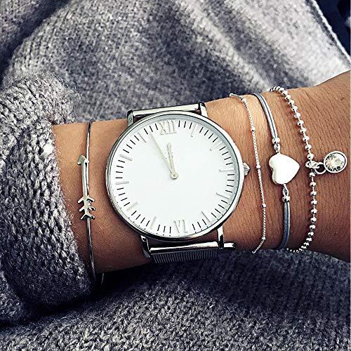 Kercisbeauty Handgefertigte Armreifen mit Pfeil- und Herzform, graues Seil mit silberfarbenen Perlen, verstellbar, Geschenk für Sie, Party-Zubehör, Geburtstag