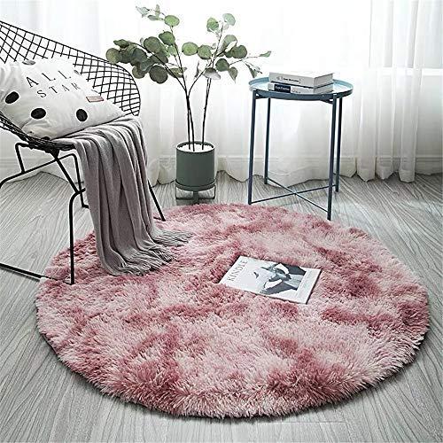 CULASIGN Moderne Design Tapis Rond Super Doux Salon Chambre à Coucher Maison Tapis Shag (Rose,80 * 80cm)